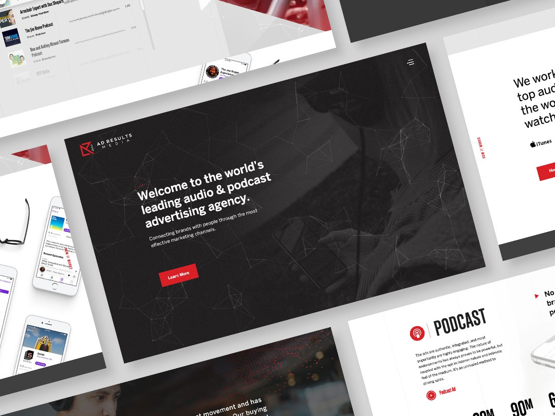 Ad Results Media V2 design agency particles podcast creative direction ux ui design web  design