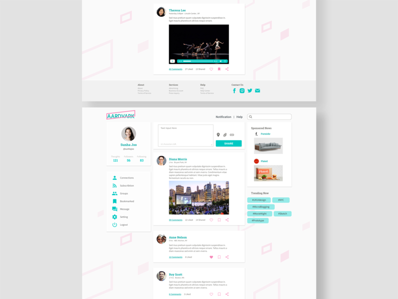 Aardvark social media ui design web design design ux design ux ui