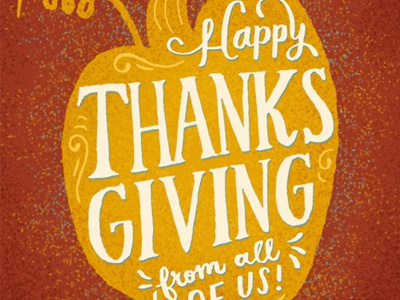 Happy Thanksgiving hand drawn holiday lettering type pumpkin thanksgiving fall illustration