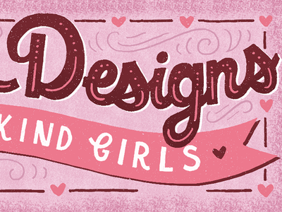Special Designs, One-of-a-Kind Girls hand-drawn type valentines day hearts illustration pink drawing lettering