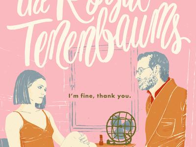 The Royal Tenenbaums pink poster royal tenenbaums hand drawn lettering illustration drawing