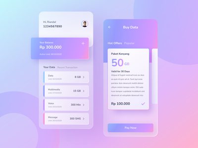 Internet Provider - Mobile App quota data provider internet ios blurred background 2020 trends dailyinspiration figma uiux uitrend ui design uidesign rianda design rianda ui mobile apps app design app