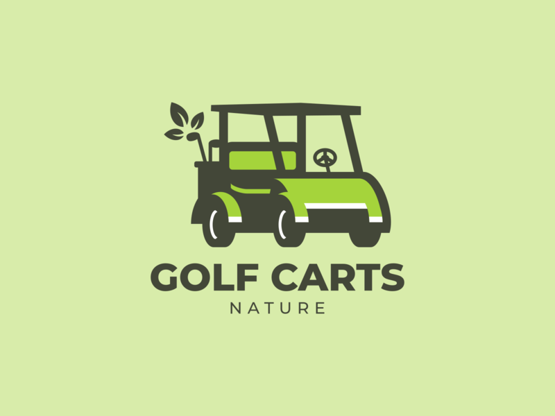 Golf Carts Nature design logo design company branding logo a day golf vector illustration flat cartoon illustration cartoon cartoon logo logo