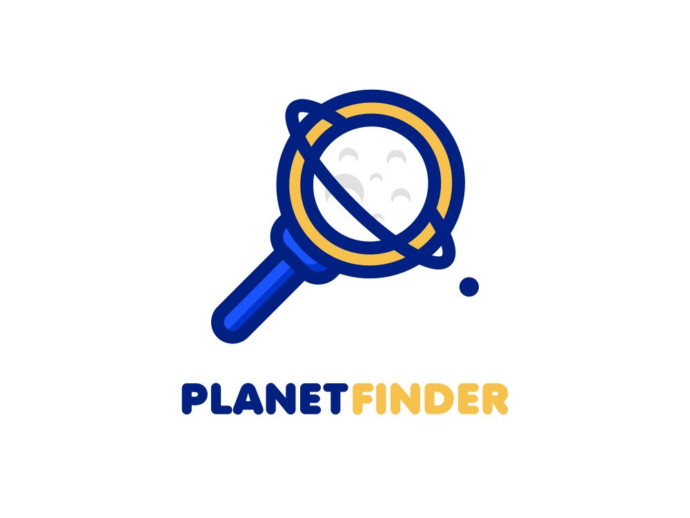 Planet Finder Logo cartoon logo cartoon rianda design rianda illustration logo design flat logos flat logo flat  design flat magnifier planet
