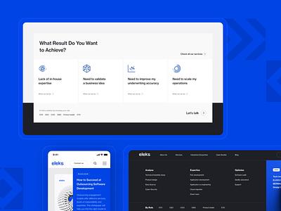 Eleks Website homepage marketing branding minimal white mobile desktop blue strategy office business consulting development software enterprise website design ux ui ui design