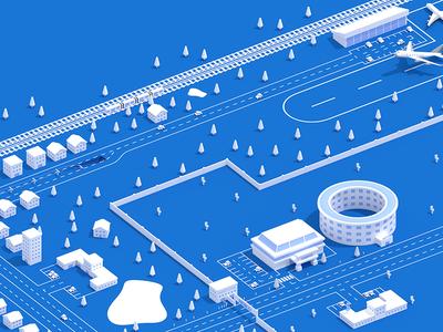 Transport in the City animation illustration website render blender web design 3d