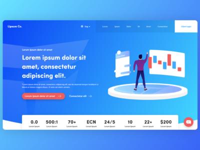 Trading Website Concept 📈 design creative web illustration 2.5d web design