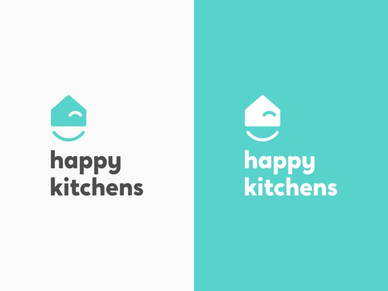 Happy Kitchens Stacked Logo illustration smile design typogaphy kitchen brand logo