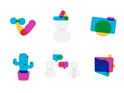 Aquamarine Iconography blend mode overlay multiply icons branding vector website design web illustration