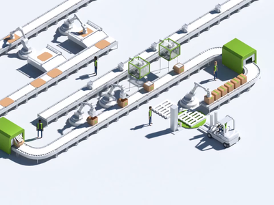 Swiftpak Homepage Animation website 2.5d machinery conveyor belt factory web design web loop animation loop blender3d blender isometric 3d animation