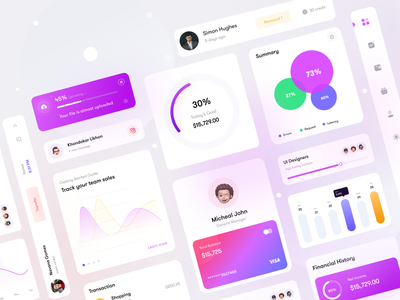 Finomaster Design system components clean ui ux money app financial app analytics chart icons graphs uidesign calender ui elements components design system