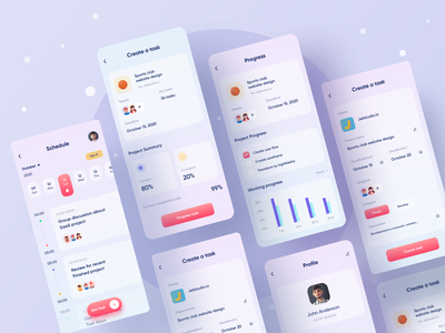 Jeltasko Task Management Application interaction product gif ios design task animation typography clean ui user experience task management glassmorphism