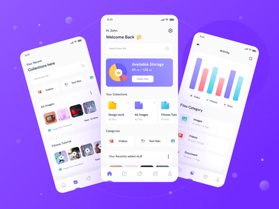 Jeofile Ultimate file and task management app product animation interaction calender task list file management typogaphy clean ios uxui management app minimal file manager
