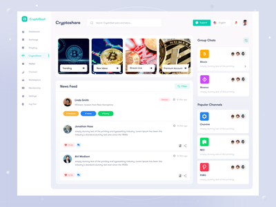 CryptoDash Cryptocurrency management web application III bitcoin wallet wallet clean minimal product typogaphy uxui crypto dashboard money management userinterface money app currency crypto