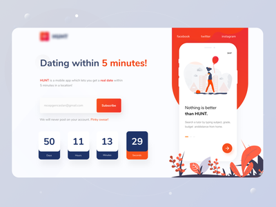 Minto Dating Application launching page exploration II clean ui interaction minimal dating app design social match hunter daily ui appui hunt dating in 5 min datting app