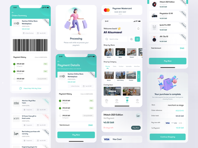 Tamara Fin-tech App UI Components and Screens payment process money management dashboard soft colors minimal app ux design ui cards buy now pay later ui components clean apps full app payment app fintech tamara