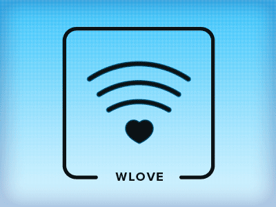 Wlove love heart icon wlan