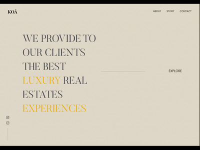 Koâ - Real estates experience interaction visual design grid ux motion animation design ui minimalism