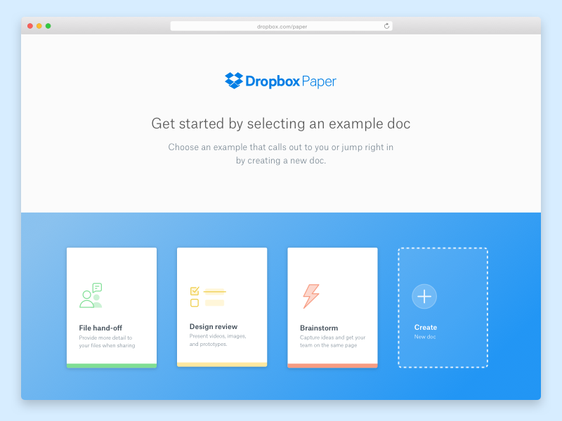 Dropbox Paper Welcome get started dropbox paper paper dropbox onboarding