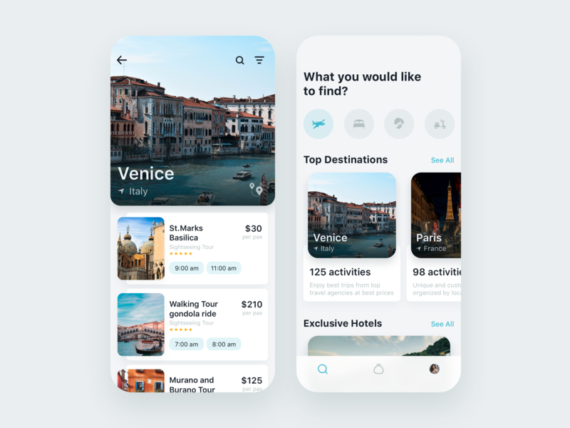 Travel App for booking unique experience inspiration uxdesign user inteface interaction picture travel app product ux interface design clean ui app fireartstudio fireart