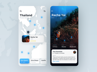 Scuba diving app for professionals and enthusiasts app design product diving app diving picture inspiration uxdesign ux user inteface ui interface clean design app fireartstudio fireart