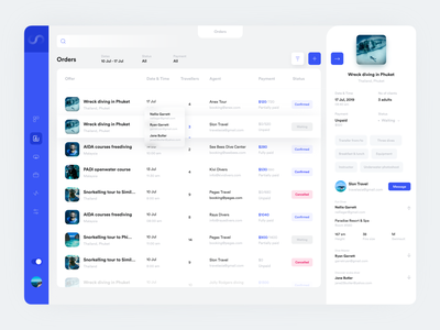 Booking platform for scuba diving industry table management app orders scuba diving software dashboard ui design ux user interface ui picture interface product inspiration clean fireart fireartstudio design app