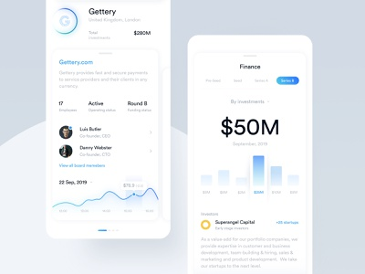 App for finding information about companies and startups card ui design product chart graph profile ux ui interface fireart fireartstudio design app