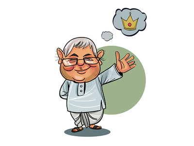 Lalu Daydreaming Of the Crown! sketch character funny politics indian sketches cartoons toons political