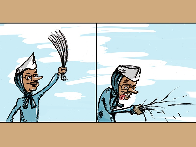 Arvind Kejriwal With Broom design cartoon illustration character aam aadmi sarkar political funny politics indian
