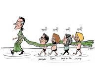 Politician Walking Behind Sonia Gandhi