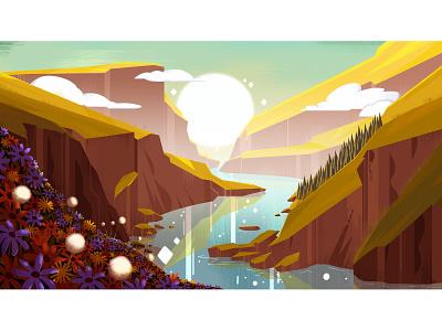 Mountains landscape visualdevelopment painting environment background artwork drawing digitalart conceptart design art illustration