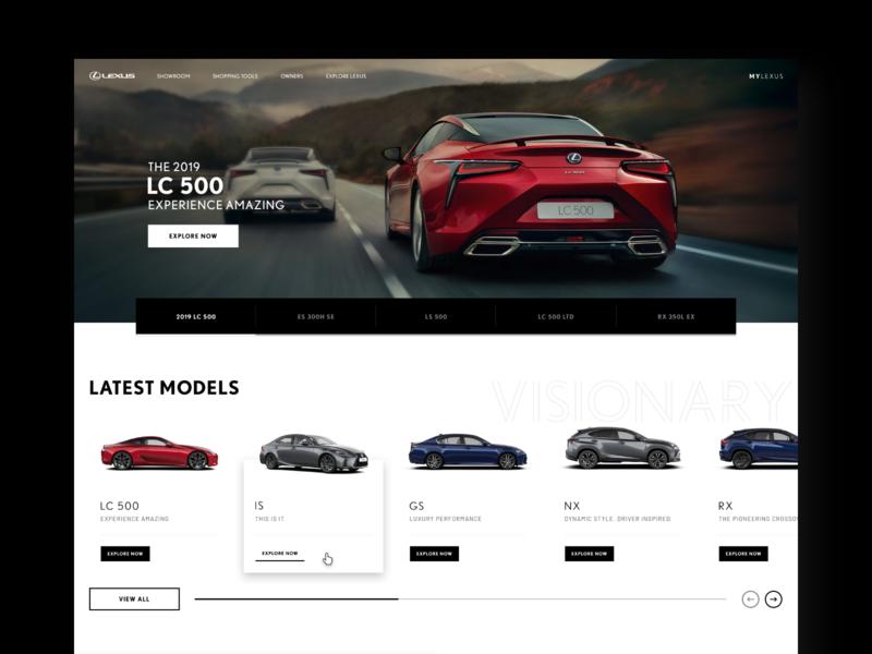 Lexus.co.za web re-design car ui cards ui product ui web website design ui design ux ui design interaction design