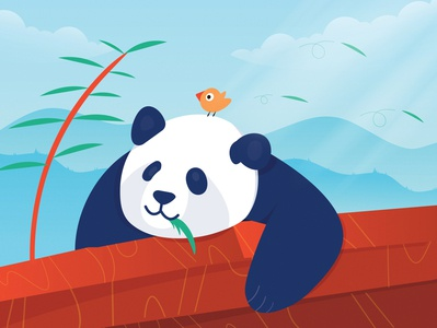 Calm Mornings calm morning bird wildlife wild mountains china vector food design rebound wildlife illustration bird illustration eating sleepy panda landscape illustration illustration