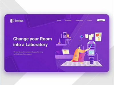 Landing page Design | Innobox community e-commerce purple drone electronics bots robots flat illustration illustration landing page ui design ui