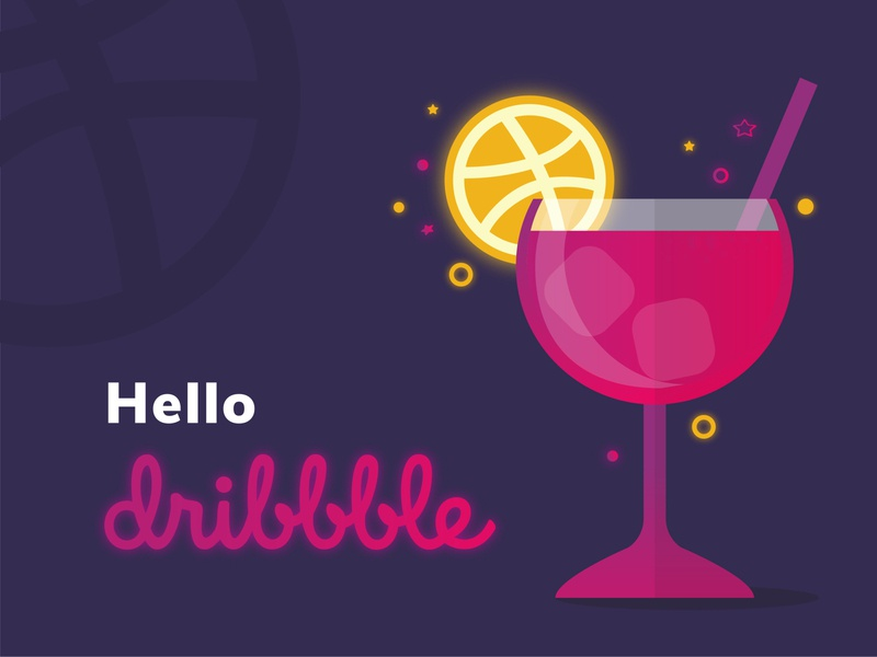 Hello Dribbble - Illustration hello dribble hello design minimal illustration alcohol minimal cocktail food drink vector illustration dribbble hello dribbble