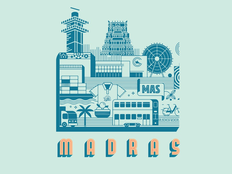 Madras - Chennai line art sticker map vector town architecture building landscape illustration line illustration postcard design postcard city illustration line art illustration