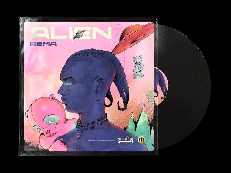 Rema alien cover vinyl alien digital painting album artwork song art rema david ofiare naija nigeria