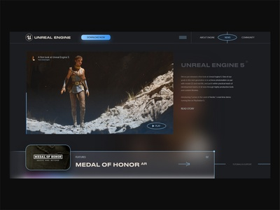 Unreal Engine 5 Experiment adobe xd david ofiare artificial intelligence web design ps5 landing page uiux gaming unreal engine 5 unrealengine