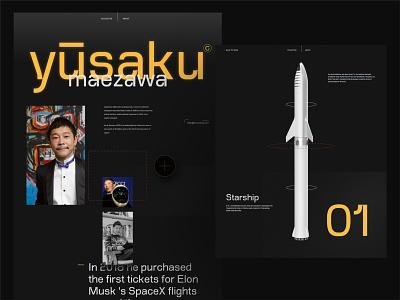Yusaku Maezawa portfolio concept uiux naija david ofiare brutalism vr futuristic adobe xd website design landing page dearmoon space x yusaku maezawa
