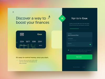 Crux Payments glow web design landing page customise card form sign up uiux naija david ofiare