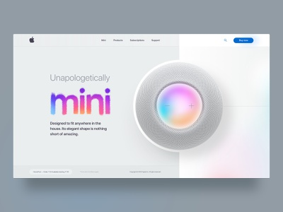 Apple HomePod mini voice mini clean ui web design adobe xd david ofiare uidesign apple design homepod apple