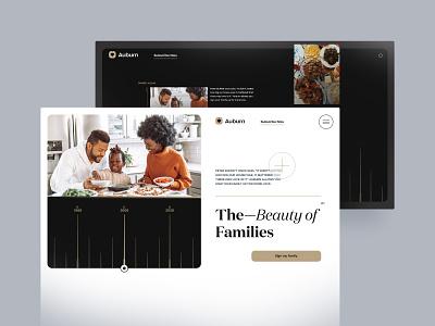 Auburn Family modern navigation design food track date album ui design family landing page web design uiux david ofiare