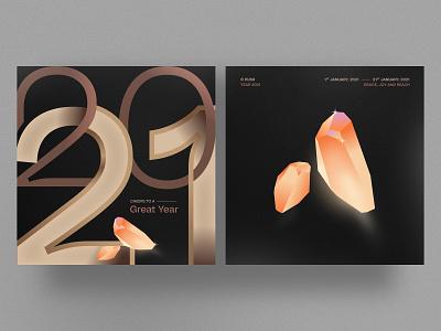 Year 2021 Design vector design illustrator seasons greetings layout typography precious gems new year year 2021 2021