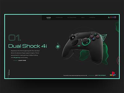 Dual Shock 4i Playstation Landing Page Desktop landing page css and js webgl pad gaming graphicdesign webdesign ux ui desktop design david ofiare naija nigeria