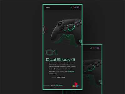 Dual Shock 4i Playstation Landing Page Mobile webgl pad david ofiare gaming playstation mobile ui fortnite mobile view css and js