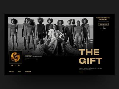 Lion King: The Gift Album Landing Page web page xd design adobe xd music player tidal david ofiare concept landing page ui uiux pwa music ui music app