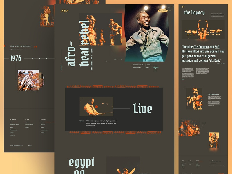 Fela Kuti Screens uidesign uiux landing page nigeria jazz music shop tribute page fela anikulapo kuti