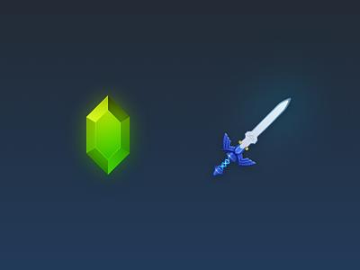 Zelda Things icons zelda master sword rupee