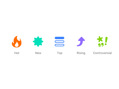 Sort controversial rising new top hot reddit icons icon