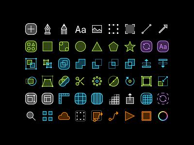 Sketch icons tools icon set sketch dark neon